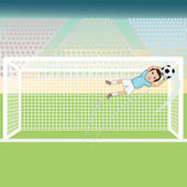 Goal keeper saving a soccer ball — Stock Vector