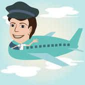 Pilot on an airplane — Stock Vector