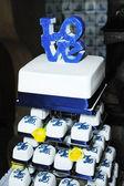 Blue wedding cake — Stock Photo