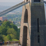 Olympic flame crossing Brunel's bridge into Bristol — Stock Photo #10888450