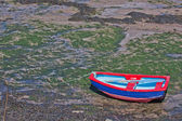 Brightly coloured dinghy — Stock Photo