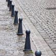 Bollards and Cobbles — Stock Photo