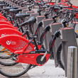 Royalty-Free Stock Photo: Red Bicycle Fleet