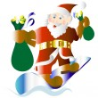 Happy Santa on a snowboard — Stock Vector