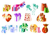 Big collection of gifts — Stock Vector