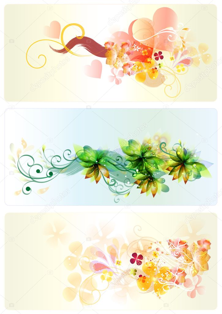 Floral patterned set  beautiful for your design. Vector cards — Stock Vector #11066843