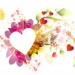 Beautiful vector frame heart with floral composition - Векторная иллюстрация