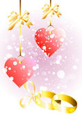 Abstract wedding background with two rings and hearts — Cтоковый вектор