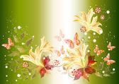 Hermoso fondo con flores — Vector de stock