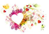 Krásný vektorový snímek srdce s květinové kompozice — Stock vektor