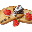 Desert with strawberry, toasts and chocolate - Stock Photo