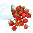 A cup of strawberry isolated on white - 图库照片