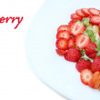 Isolated strawberry desert with space for your text: - Stock Photo