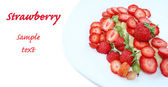 Isolated strawberry desert with space for your text: — Stock Photo