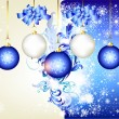 Blue christmas background with space and baubles — Stock Vector #11548688