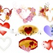 Vector set of valentine hearts — Image vectorielle