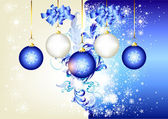 Blue christmas background with space and baubles — Stock Vector