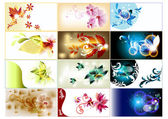 Bussines cards set in floral style — Stock Vector