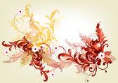 Elegant filigran bakgrund med blommor och hjärtan — Stockvektor
