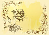 Beautiful vector background with handdrawn rose in sepia — Stock Vector