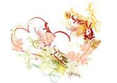Corazón hermoso vector con rosas — Vector de stock