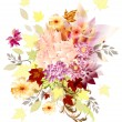 Design with bouquet from different flowers - Imagens vectoriais em stock