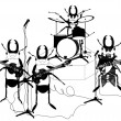 Hand drawn vector musicians - Stock Vector