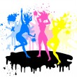 Girls silhouette symbol CMYK colors - Image vectorielle