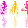 Girls vector color silhouette - Stockvektor