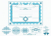 Certificate or coupon in blue color — Stock Vector