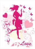 Dreamy kız vektör siluet — Stok Vektör