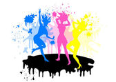 Girls silhouette symbol CMYK colors — Stock Vector