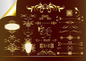 Golden ornate page decorative elements — Stock Vector