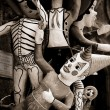 Sepia paper mache toys — Stock Photo