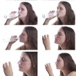 Drinking from bottle and glass set - Stok fotoğraf