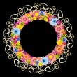 Colorful floral round frame on black background — Stock Vector
