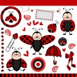 Stock Vector: Ladybug Digital Scrapbook