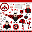 Ladybug Digital Scrapbook — Stock Vector