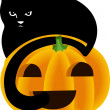 Black Cat Peeking Over the Top of a Halloween Pumpkin — Stock Vector