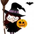 Witch with Broom and Pumpkin — Stock Vector