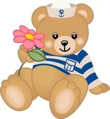 Teddy Sailor Offers Flower — Vector de stock