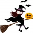 A witch and pumpkin halloween flying on broom — Stock Vector #11552427