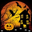 Stock Vector: Halloween night haunted house with bats and pumpkin