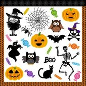 Halloween night trick or treat digital collage — Stock Vector