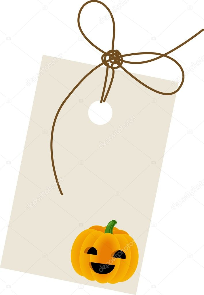 Scalable vectorial image representing a halloween pumpkin with label, isolated on white. — Stock Vector #11556481