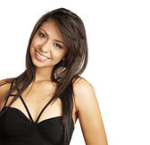 Attractive and beautiful young woman smiling in black dress isolated against white background. — Stock Photo