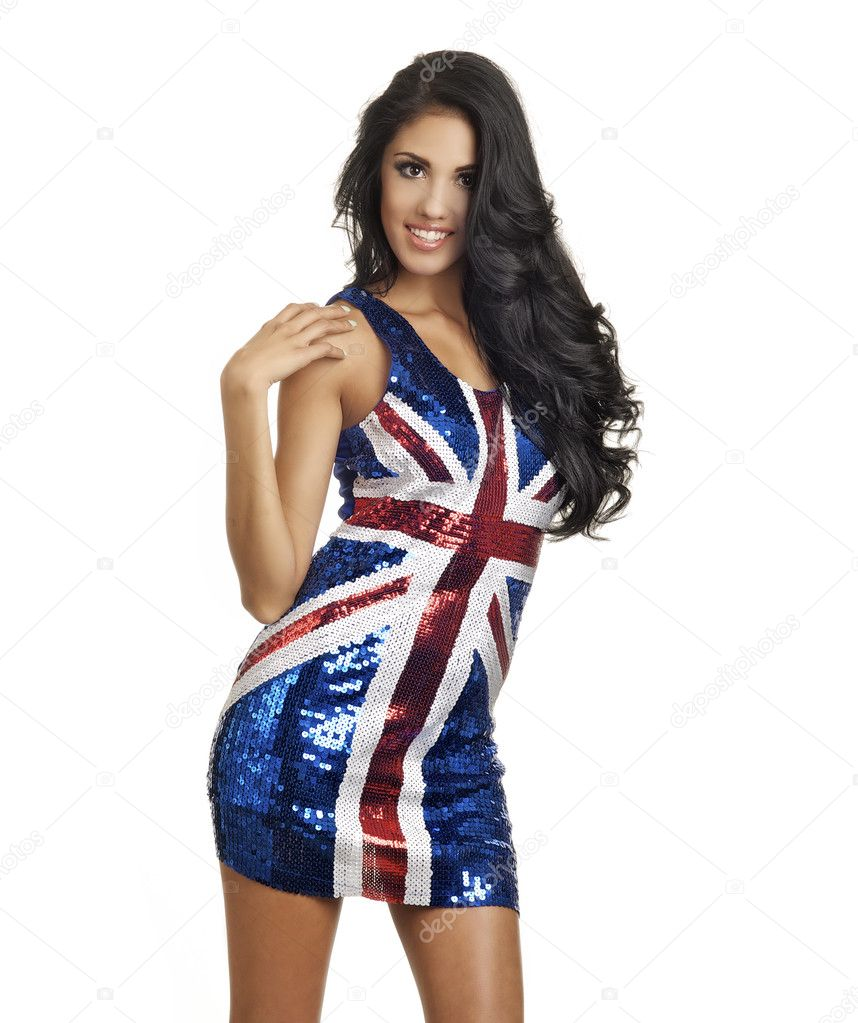 Beautiful patriotic British union jack flag dress. — Stock Photo ...