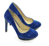 Blue ladies shoes — 图库照片