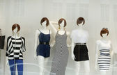 Fashion mannequins in window — Stock Photo