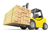 Forklift with stacked lumber — Stock Photo